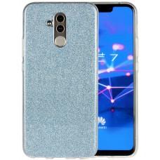 Чехол для Huawei Mate 20 Lite силиконовый голубой с блестками