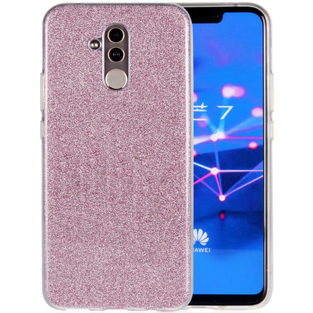 Чехол для Huawei Mate 20 Lite силиконовый розовый с блестками