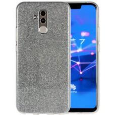 Чехол для Huawei Mate 20 Lite силиконовый серебристый с блестками