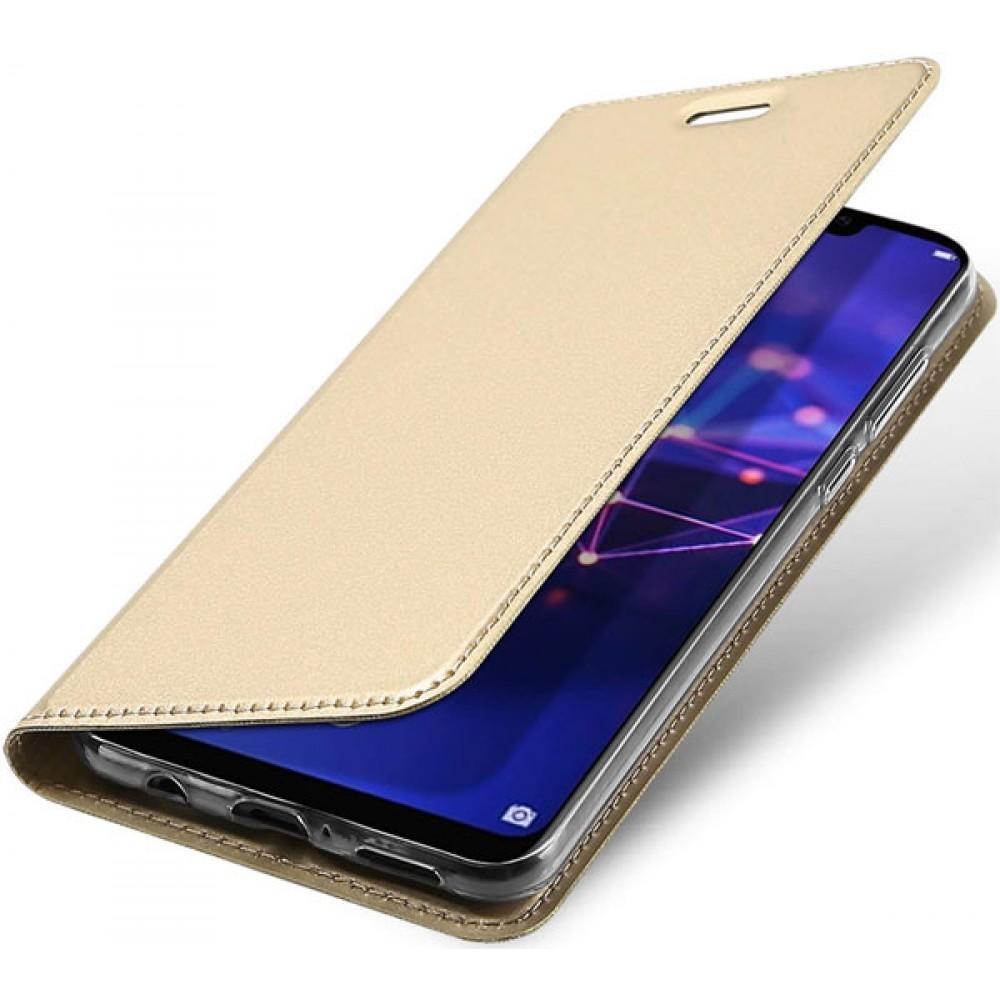 Чехол для Huawei Mate 20 Lite золотой кожаный