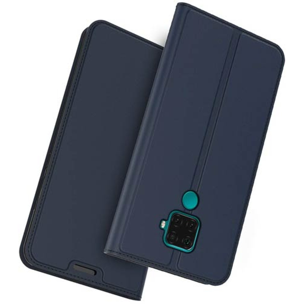 Чехол для Huawei Mate 30 Lite кожаный синий