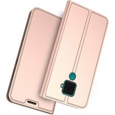 Чехол для Huawei Mate 30 Lite кожаный золотисто-розовый