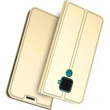 Чехол для Huawei Mate 30 Lite кожаный золотой