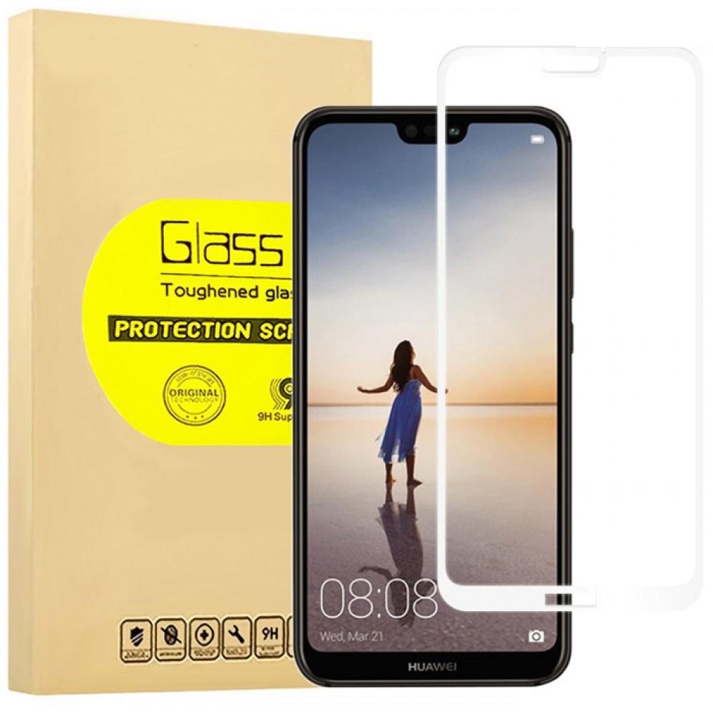 Стекло на Huawei P20 Lite с белой рамкой