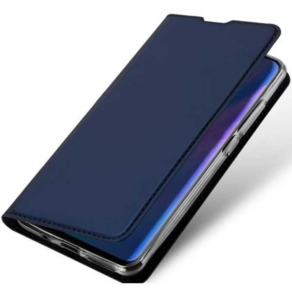 Чехол для Huawei P30 Lite синий кожаный