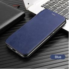 Чехол для Huawei P40 Lite кожаный синего цвета