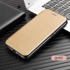 Чехол для Huawei P40 Lite кожаный золотистого цвета