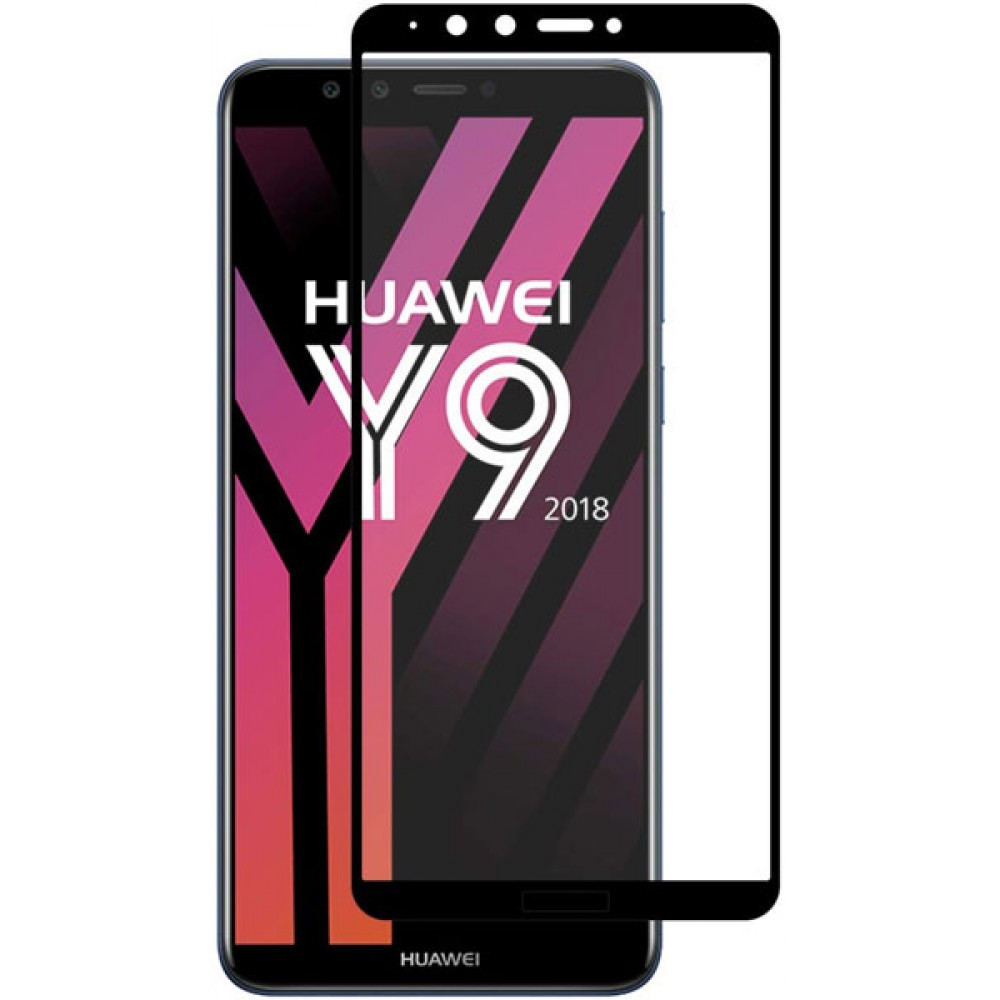 Стекло для Huawei Y9 2018 на весь экран с черной рамкой