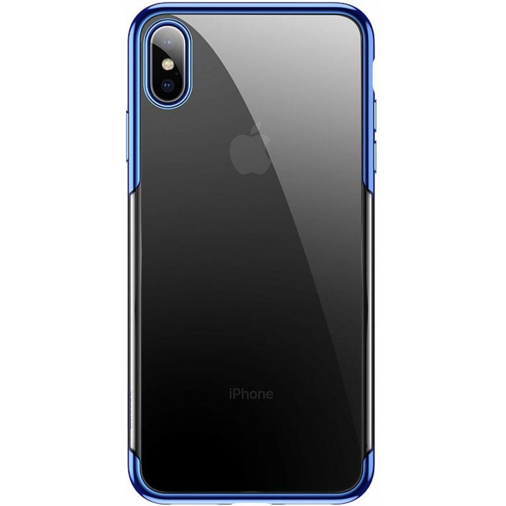 Чехол для iPhone X Baseus Glitter Case с синей рамкой