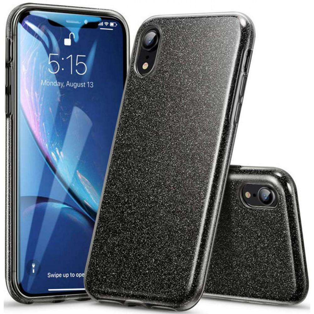 Чехол для iPhone XR силиконовый черный с блестками