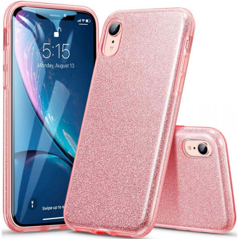 Чехол для iPhone XR силиконовый розовый с блестками