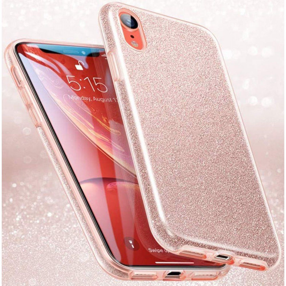 Чехол для iPhone XR силиконовый золотистый с блестками