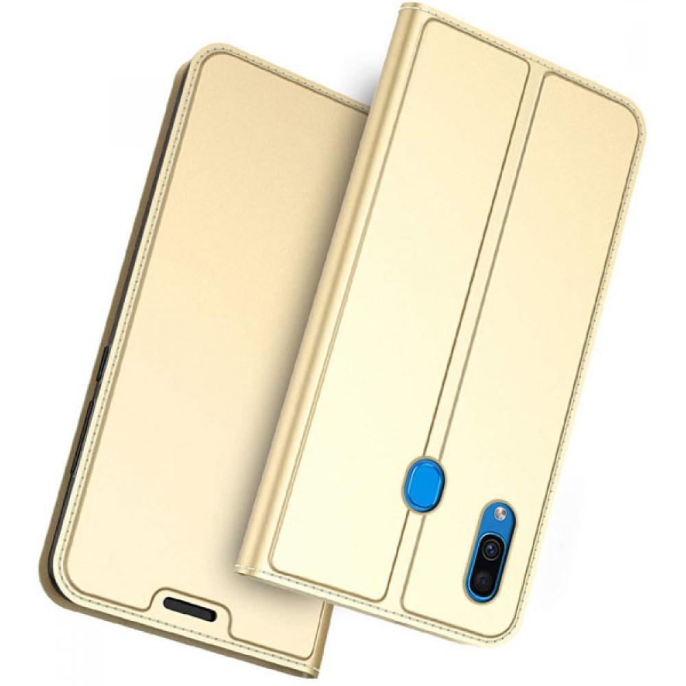 Чехол для Samsung Galaxy A30 золотой кожаный