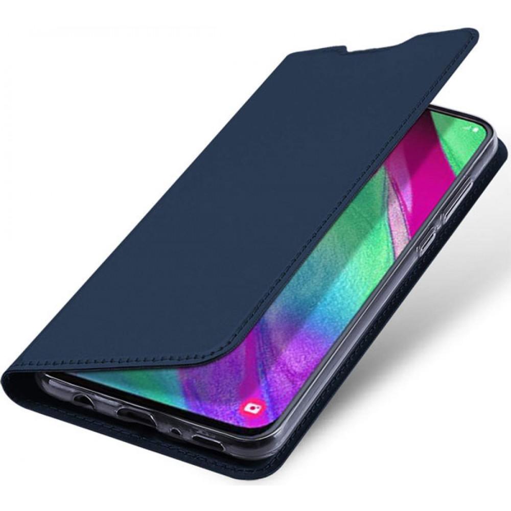 Чехол для Samsung Galaxy A40 синий кожаный