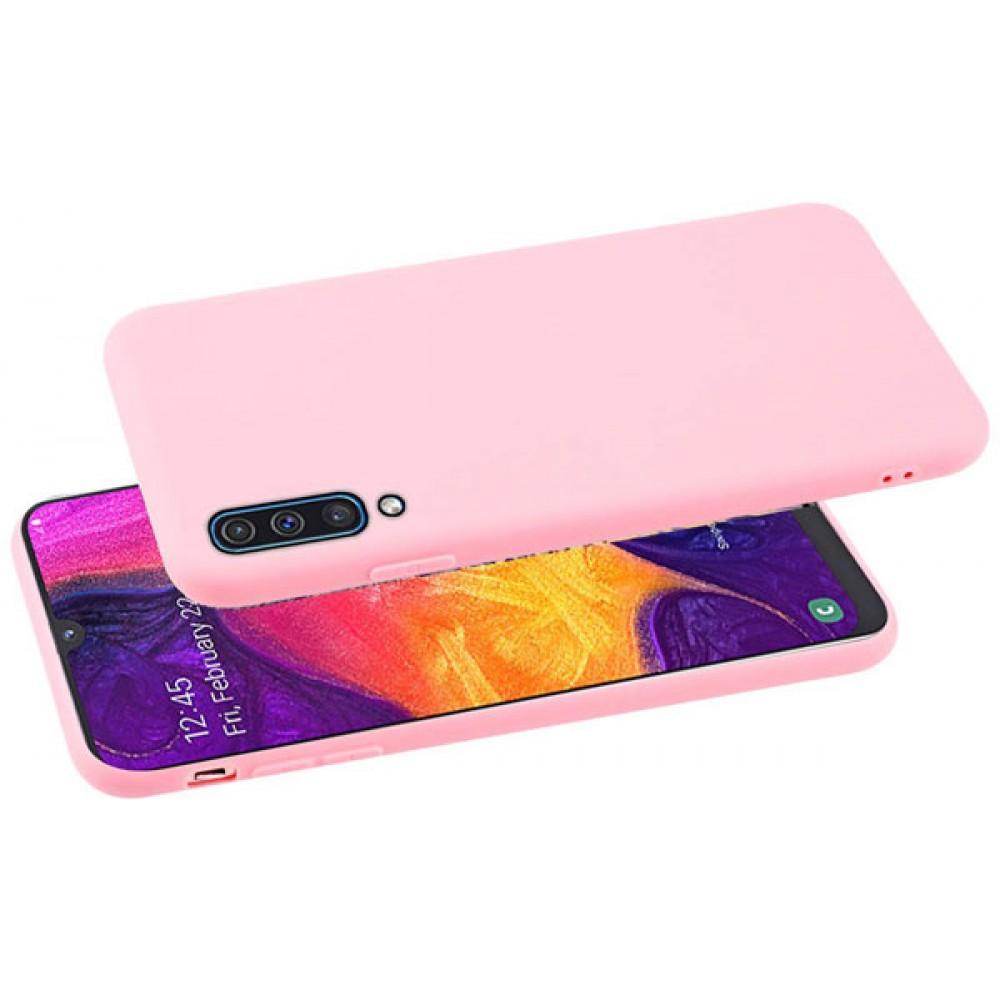 Чехол для Samsung Galaxy A50, Силиконовый бампер розовый