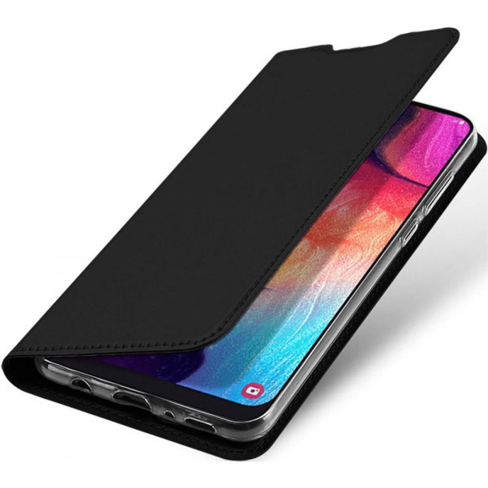 Чехол для Samsung Galaxy A50 черный кожаный