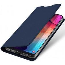 Чехол для Samsung Galaxy A50 темно-синий кожаный