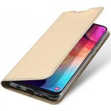 Чехол для Samsung Galaxy A50 золотой кожаный