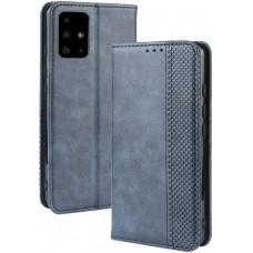 Чехол для Samsung Galaxy A51 синий кожаный