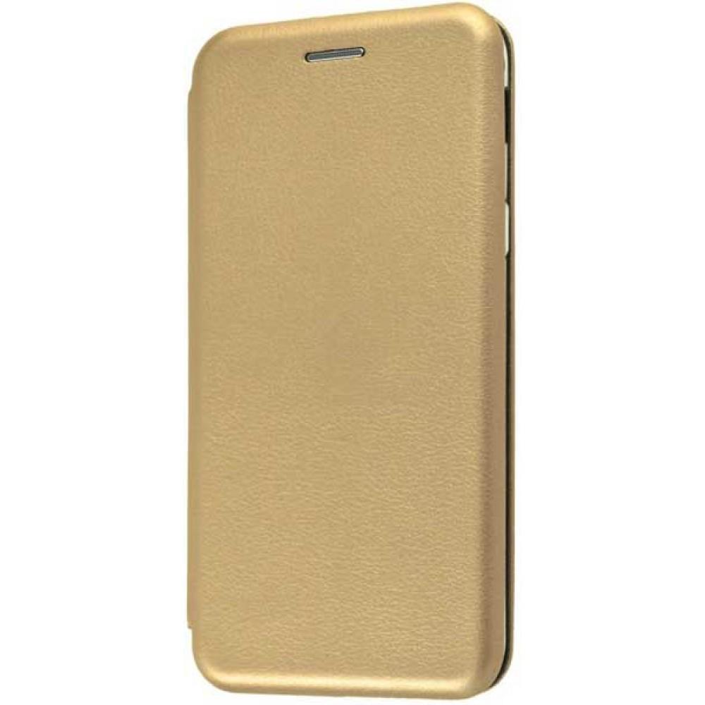 Чехол на Samsung Galaxy A6 2018 кожаный золотой