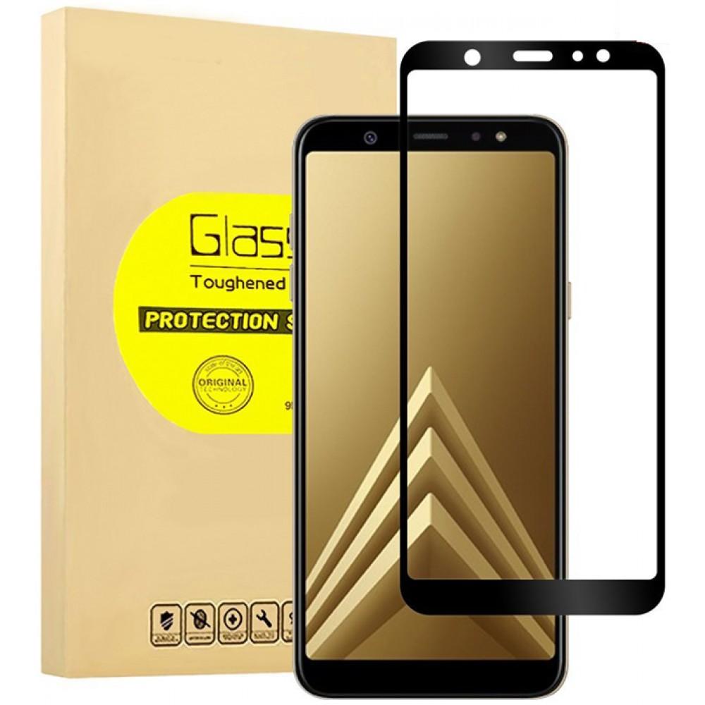 Стекло на Samsung Galaxy A6+ с черной рамкой