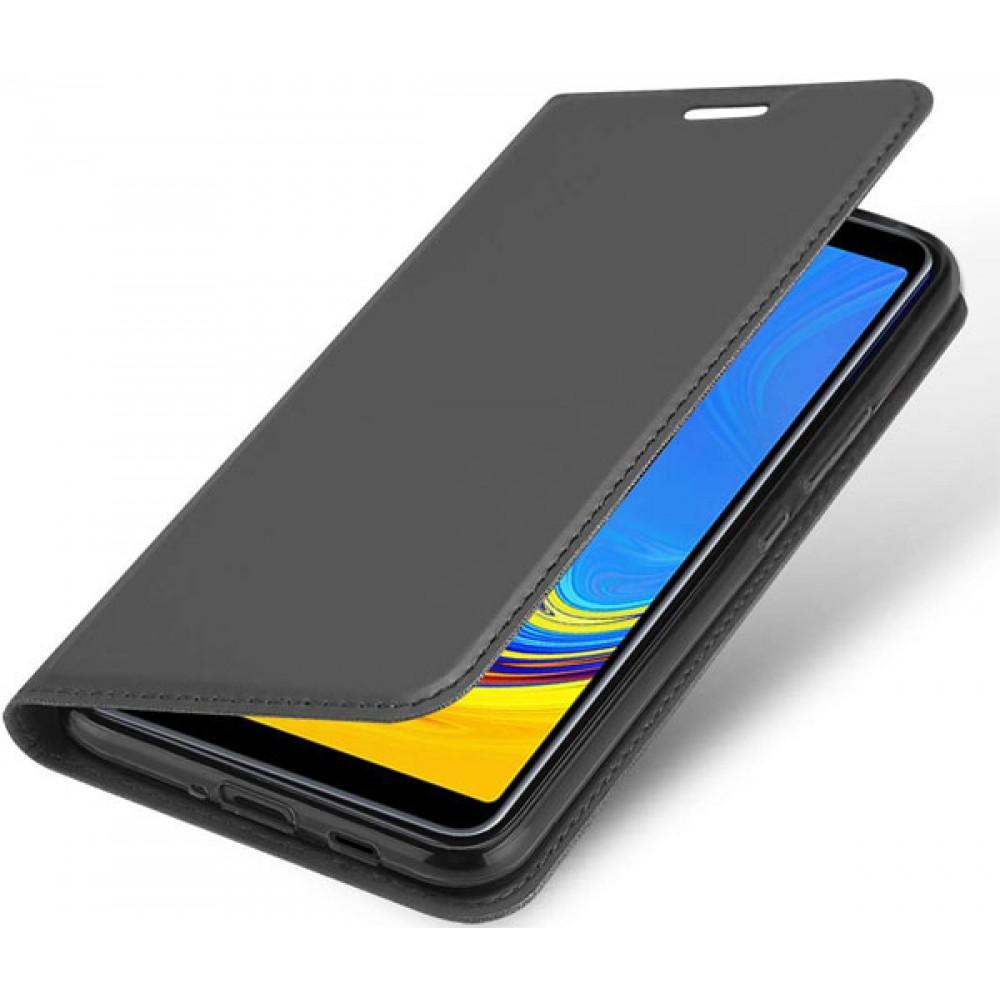 Чехол для Samsung Galaxy A7 2018 черный кожаный
