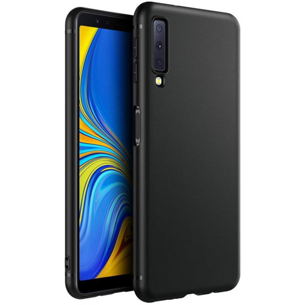 Чехол для Samsung Galaxy A7 2018 черный силиконовый