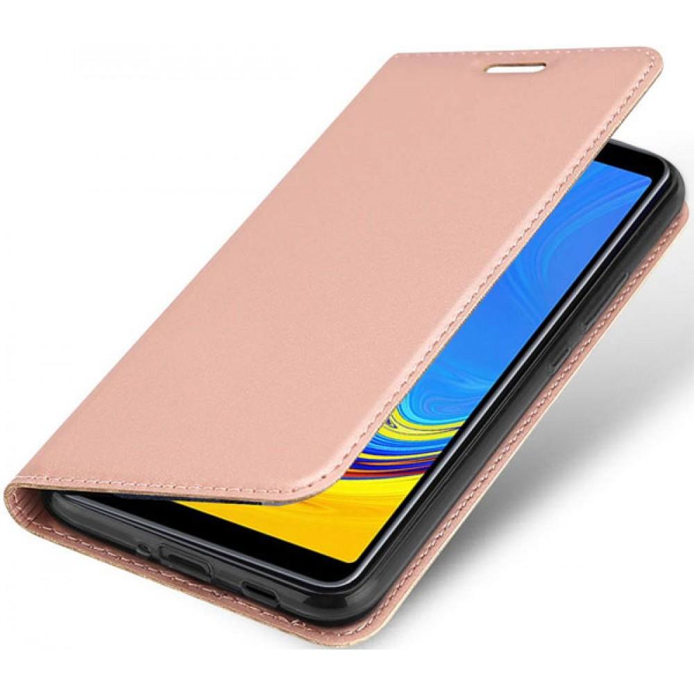 Чехол для Samsung Galaxy A7 2018 золотисто-розовый кожаный