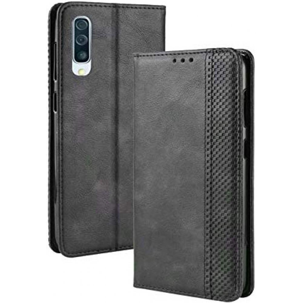 Чехол для Samsung Galaxy A70 черный кожаный