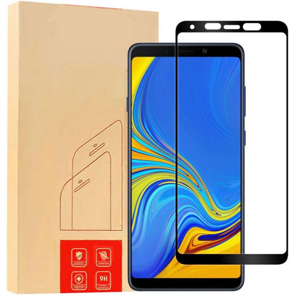 Стекло для Samsung Galaxy A9 2018 с черной рамкой