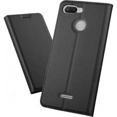 Чехол для Xiaomi Redmi 6 черный кожаный