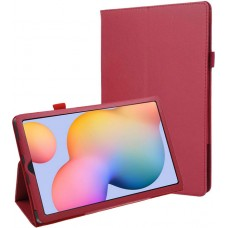 Чехол для Samsung Galaxy Tab S6 Lite красный кожаный