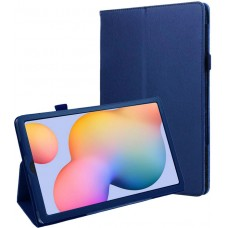 Чехол для Samsung Galaxy Tab S6 Lite синий кожаный