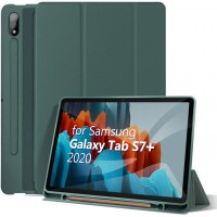 Чехол для Samsung Galaxy Tab S7 Plus с креплением под стилус темно-зеленый