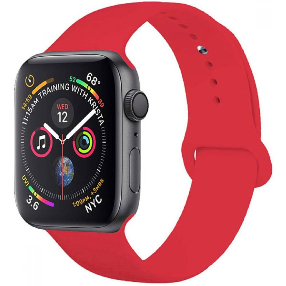 Ремешок для Apple Watch Series 4/3/2/1 44-42 мм красный силиконовый