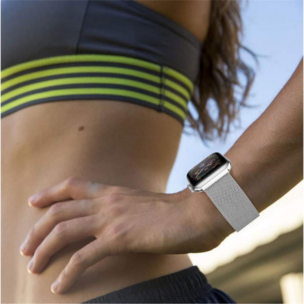 Браслет для Apple Watch Series 4 44-42 мм металлический цвет серебро