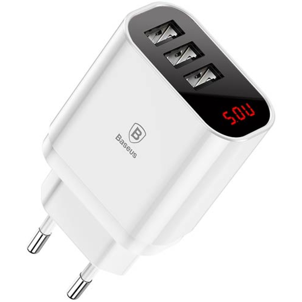 Сетевая зарядка Baseus Mirror Lake Intelligent Digital Display 3USB Travel Charger 3.4A White
