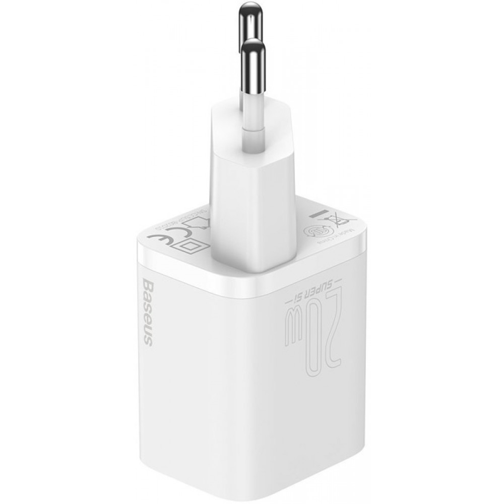 Блок питания Baseus Super Si Quick Charger 1C 20W EU Sets с кабелем в комплекте type-c lighting белый