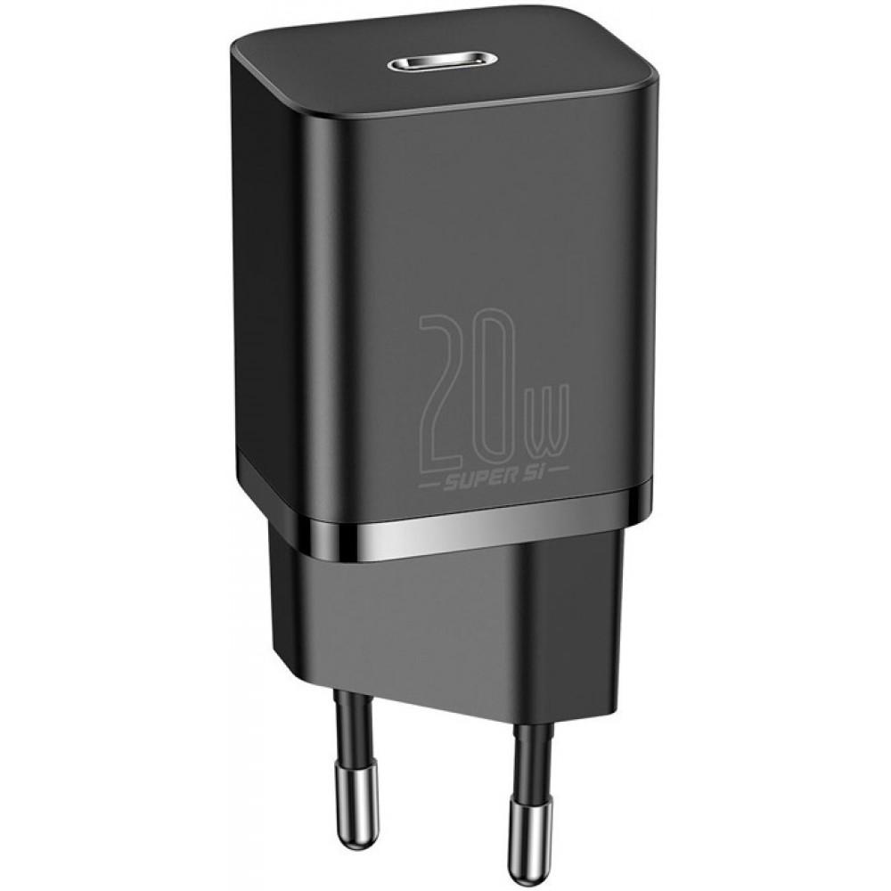 Блок питания Baseus Super Si Quick Charger 1C 20W EU Sets с кабелем в комплекте type-c lighting черный