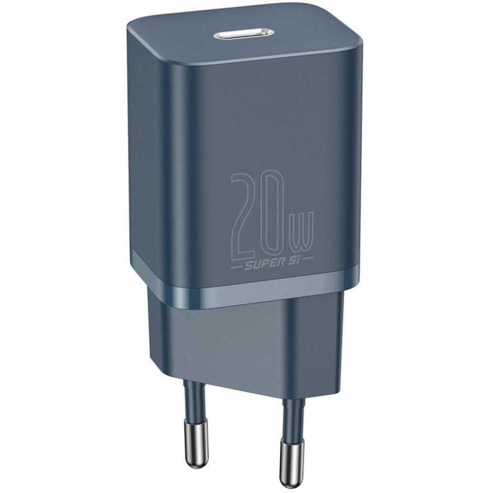 Блок питания Baseus Super Si Quick Charger 1C 20W EU Sets с кабелем в комплекте type-c lighting синий
