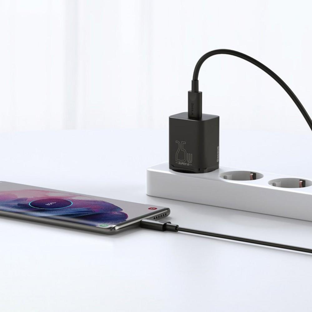 Блок питания Baseus Super Si Quick Charger 1C 25W EU Sets с кабелем в комплекте type-c to type-c черный