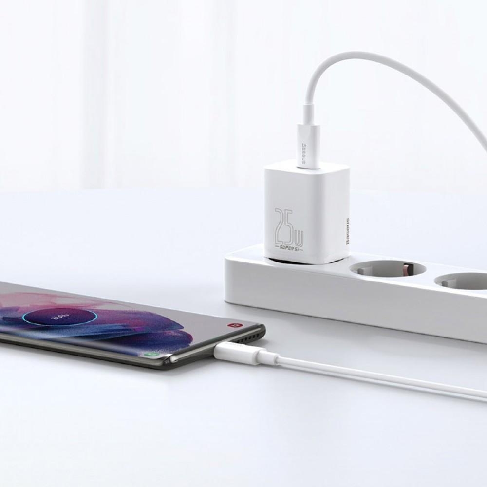 Блок питания Baseus Super Si Quick Charger 1C 25W EU Sets с кабелем в комплекте type-c to type-c белый
