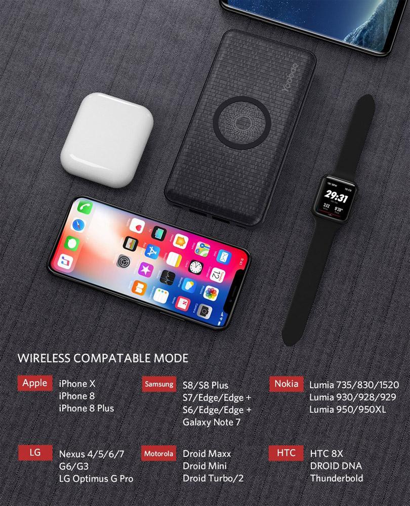 Портативное зарядное устройство Yoobao W5 5000 mAh черного цвета с беспроводной зарядкой
