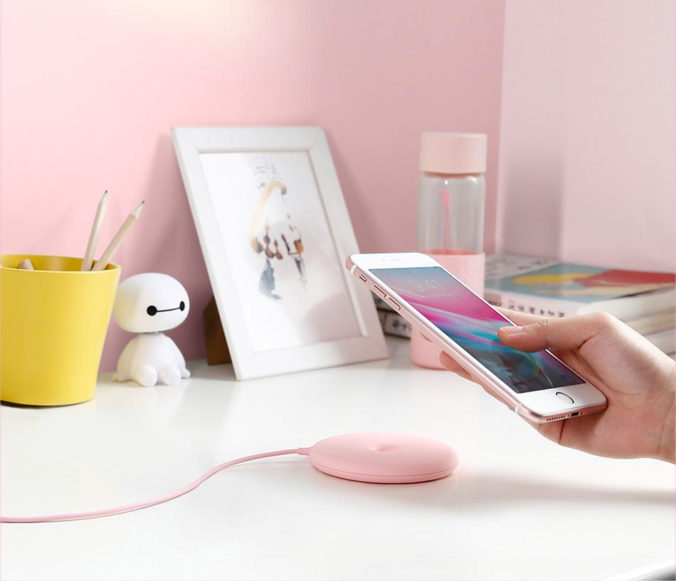Беспроводное зарядное устройство Baseus Donut Wireless Charger Pink WXTTQ-04